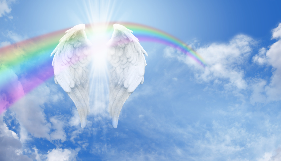 Rainbow Angel Wings in the clouds Banner
